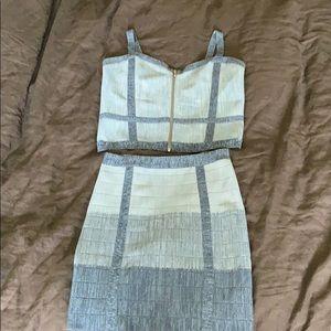 BEBE crop top/matching skirt